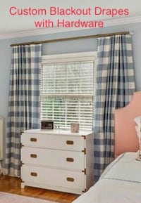 Beautiful Window Treatments! Set of blue and off-white drapery panels with bronze rod and all hardware. Great for kid's bedroom or nursery! Winter Park, 32789
