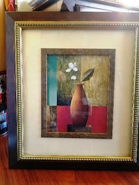 Brown Vase Still Life Painting with Brown Frame
