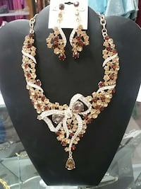 red, brown, and silver rhinestones embellished gold necklace and drop earrings Wasilla, 99654