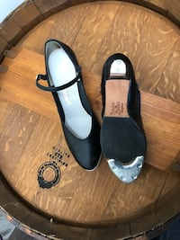 Pair of black tap shoes. Size 8