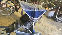 baby's blue and gray jogging stroller