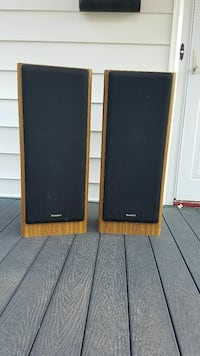 two black-and-brown speakers