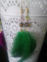 gold-colored beaded green feather hook earring s