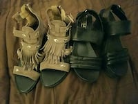 two pairs of brown and black sandals