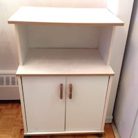 "Microwave Table ,white ,with wheels ,grate co ,the height 36"" X 24 "" W from front ,W from sides 16"" Hamilton, L8V 4K6"