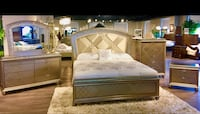 Ruffino 6pc LED Crystalized Shimmering Champagne Bedroom Collection Charlotte, 28216