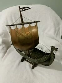 Vintage Viking brass ship from 1965 in Stockholm