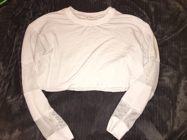 white scoop neck long sleeve shirt