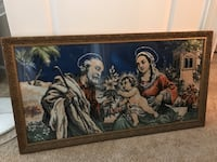 Brown wooden frame father and mother with thier child painting/ year 1956 Las Vegas, 89130