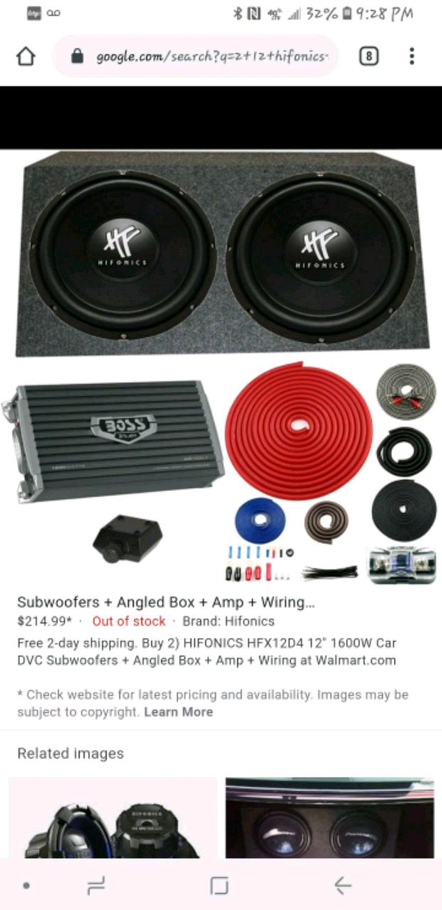 Photo New Hifonics 12inch subwoofers includes box and 2 boss amps
