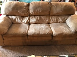 Microfiber Tan Couch and Loveseat
