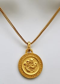 Vintage Hallmarked 24K Yellow Gold Dragon Pendant Necklace. CAPITOLHEIGHTS