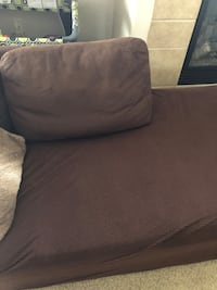 Brown Couch w/Slip Cover + Ottoman