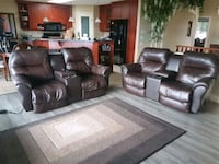 Two, brown leather home theater sofas West Kelowna, V4T 2M3