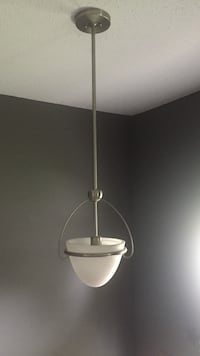2 white glass and brushed nickel pendant lamps-2