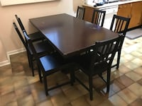 Wooden Kitchen/ Dinning Table w/ 6 Chairs