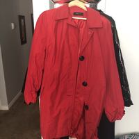 Red button-up trench jacket worn still good quality Calgary, T2W 2P4