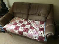 brown and white floral fabric sofa Kelowna, V1Y 5G5