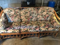 brown and white floral fabric 3-seat sofa North Webster, 46555