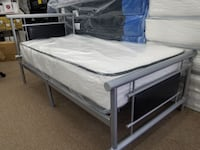 Twin size metal bed frame black or white with matt College Park