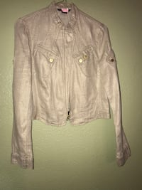 beige zip-up jacket