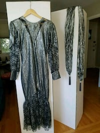 women's gray and black long-sleeved dress 37 km