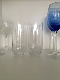 Assorted clear drinking glasses
