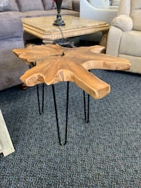 New Small Solid Wood Abstract End Table