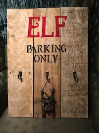 elf parking only print board wall decor