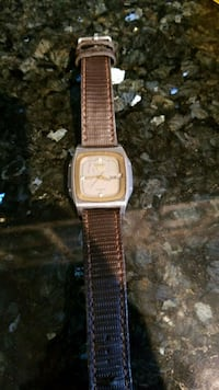 square silver-colored analog watch with brown leat Edmonton, T6M 1H6