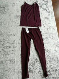 Burgundy tights and tank top...size L