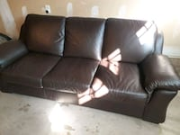 Brown 3 seater leather Couch  Brampton, L6X 0M8