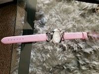 round silver-colored framed analog watch with pink leather strap Kelowna, V1X 2C4