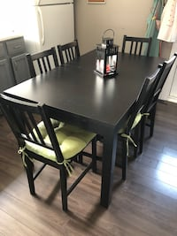 Rectangular black wooden table with six chairs dining set Windsor, N8X