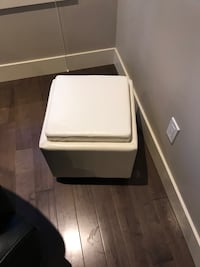 White Leather Side Table/Ottomen Calgary