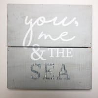 Grey and White Wooden Galvanized Metal Sea Art Sign Dickinson, 77539