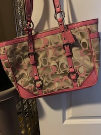 Monogrammed pink and brown coach leather bag 2349 mi