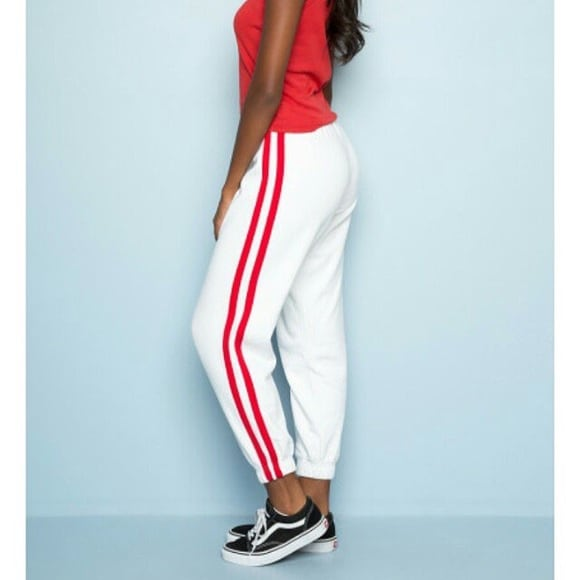 Brandy Melville White sweatpants with red stripe