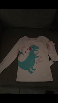 Light pink and blue dinosaur long-sleeve shirt