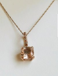 NEW 14K Rose gold 1.5CT Morganite/diamond necklace Lake Stevens, 98258