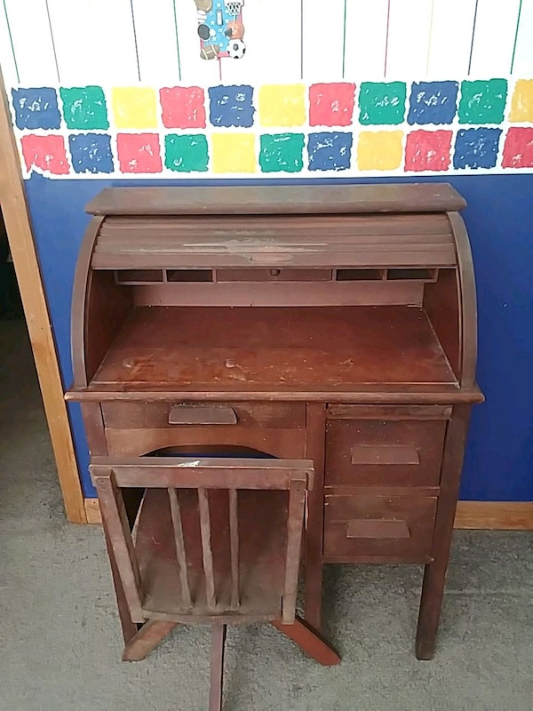 Awesome Antique Child Rollup Desk And Chair Gmtry Best Dining Table And Chair Ideas Images Gmtryco