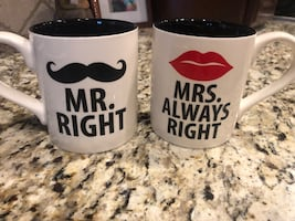 Mr & Mrs Right coffee mugs