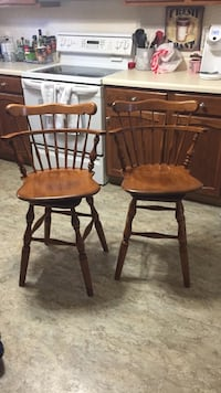 Wondrous Used Real Wood Swivel Bar Stools Selling As Pair For Sale In Swansea Letgo Creativecarmelina Interior Chair Design Creativecarmelinacom