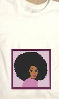 afro-haired woman illustration printed white shirt Richmond, 23227