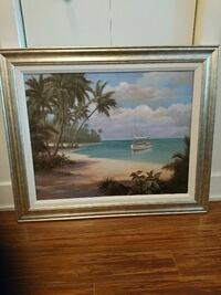 gray wooden framed painting of sailboat near shore La Prairie, J5R 0H2