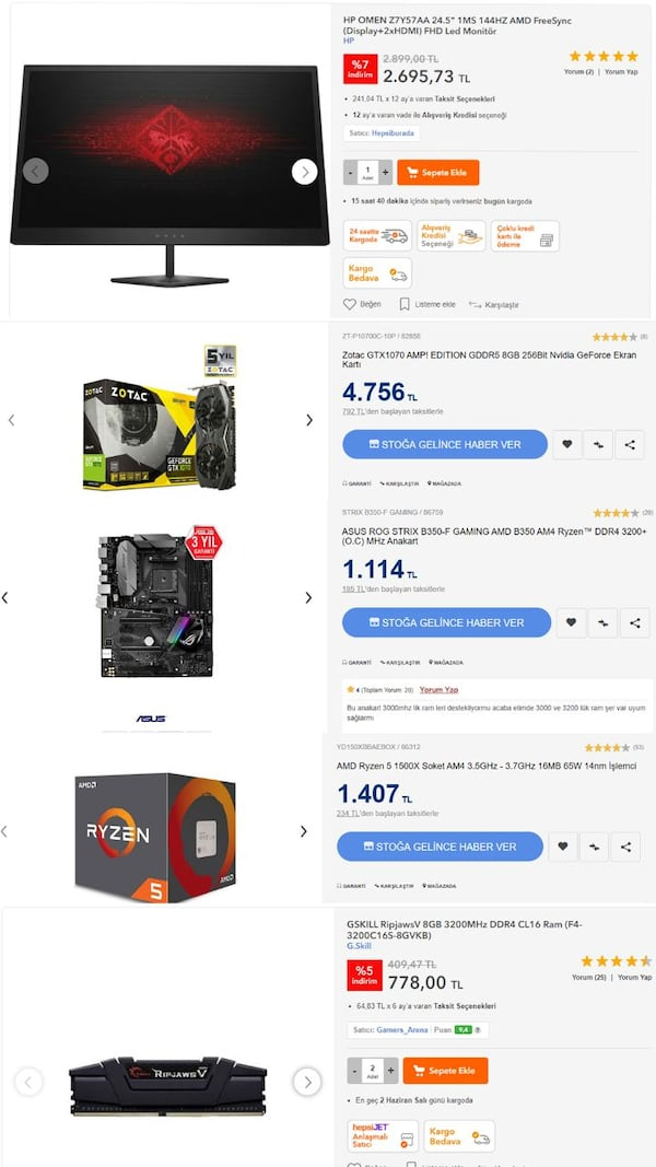 1070 GTX 16 GB RAM SSD 144HZ MONİTOR FULL SİSTEM 5