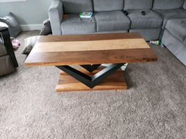 Solid black walnut and curly maple coffee table.