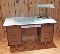 Student desk with world map TORONTO