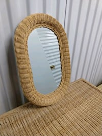 Wicker Mirror and Hanging Lamp
