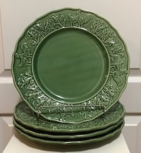 4 Green Bordallo Pinhiero Rooster & Corn Vintage Dishes from Portugal Wilmington, 28411